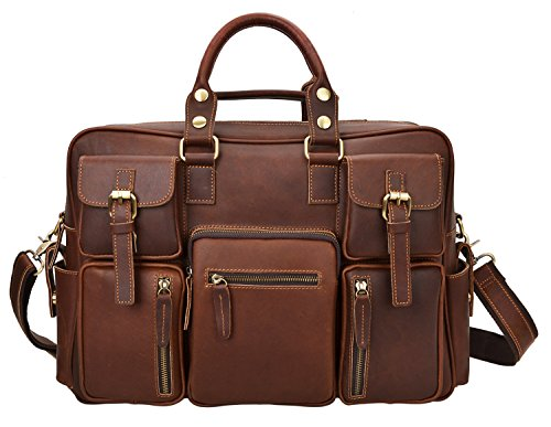 ALTOSY Men Vintage Genuine Leather Briefcase Laptop Messenger Shoulder Travel Bag 6908 (Coffee) by ALTOSY