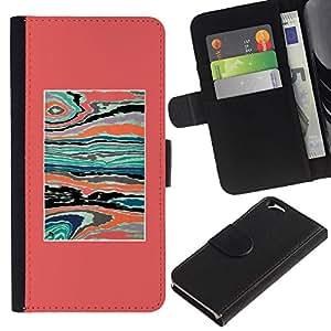 Estuche de Cuero Billetera del tirón Tarjeta de la Bolsa Titular de Suave Caso para Apple Iphone 6 4.7 / CECELL Phone case / / Pink Teal Abstract Paint Syrreal /
