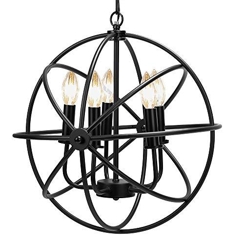 VIVOHOME Rustic Metal 5 Lights Sphere Orb Hanging Ceiling Chandelier with Light Fixtures Black