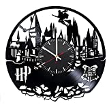 Hogwarts Modern Handmade Vinyl Record Wall Clock – Get unique bedroom or nursery wall decor – Gift ideas for kids and teens – Magic Castle Unique Art Design For Sale