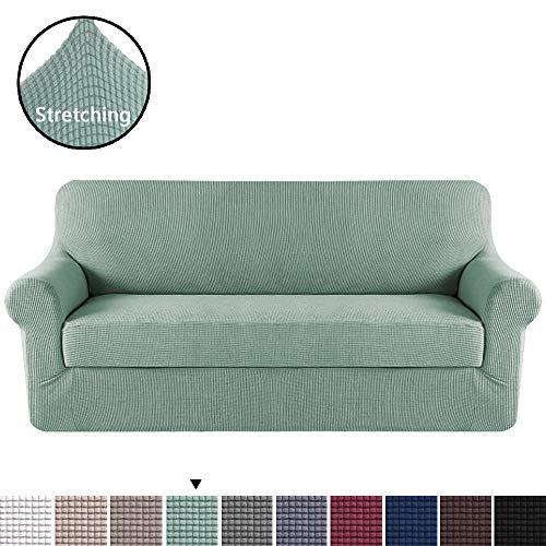 (H.VERSAILTEX Elegant Luxury High Spandex Sofa Cover Stretch Jacquard Furniture Protector, 2 Separate Pieces for Sofa, Super Soft Machine Washable, Sage, Sofa Size)