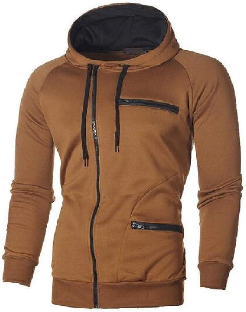 Wofupowga Mens Long-Sleeve Oblique Zipper Hooded Thick Casual Sweatshirts