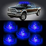 CCIYU 5x Smoke Roof Running Light Cab Marker Smoke Cover Top Lamp Lens + 5x T10 W5W 194 20-SMD Side Wedge License Interior LED Light Lamps (blue)