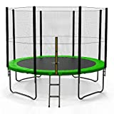 We R Sports Trampoline with Safety Enclosure Net Ladder and Rain Cover - Black 10FT