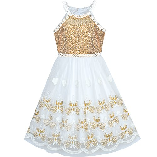 Sunny Fashion Girls Dress Gold Embroidered Halter Dress Party Size -