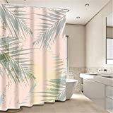 DECMAY Green Leaves Shower Curtain Tropical Palm Tree Leaves White Decor Fabric Bath Curtain Waterproof 71 Inch Bathroom Decor Set with Hooks