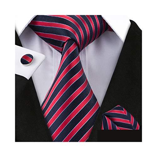 (YOHOWA Men Stripe Tie Pocket Square Business Silk Necktie Cufflinks Set (Red Stripe))