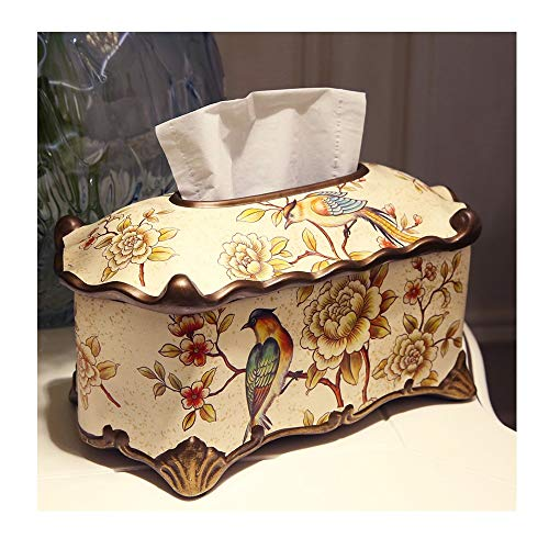 JUN American Hand-painted Tissue Box Decoration Home Living Room Painted Napkin Box Coffee Table Decoration 29.5X16.5X15cm