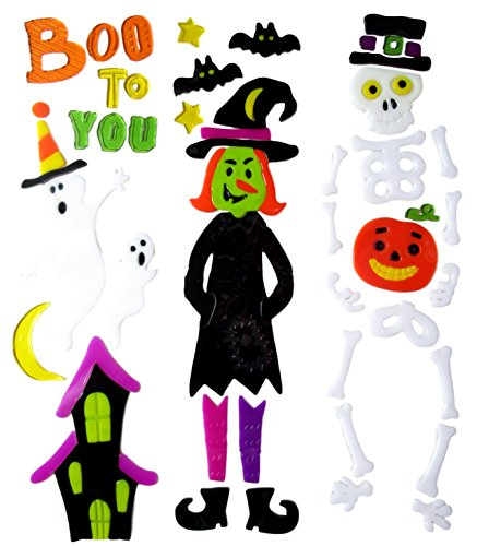 Halloween Gel Clings Window Decorations (Boo to You - Witch and Skeleton) for $<!--$18.95-->