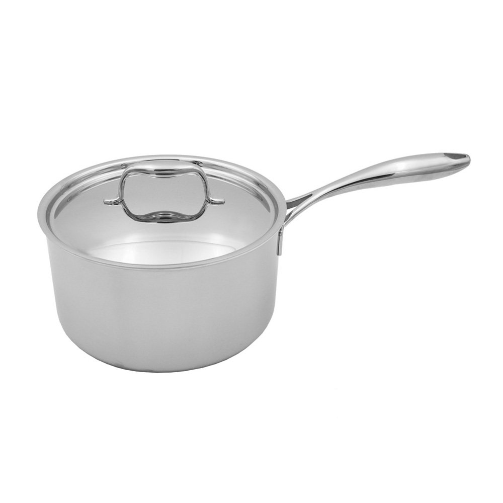 Tuxton Home Duratux Tri-Ply 3.32 Quart Dishwasher and Oven Safe Covered Saucepan, 3.32QT, Multi-Clad Stainless Steel, Freezer to Oven Safe up to 500F, Induction Compatible