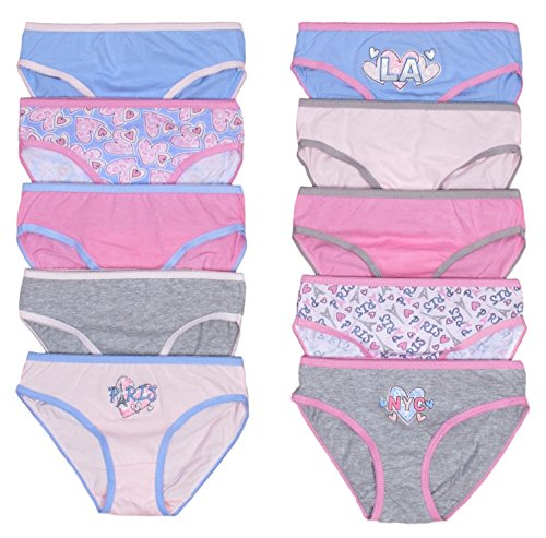 Price comparison product image 'Sweet & Sassy Girls Underwear Panties, Size 5/6, Tourist, 10 Pack'