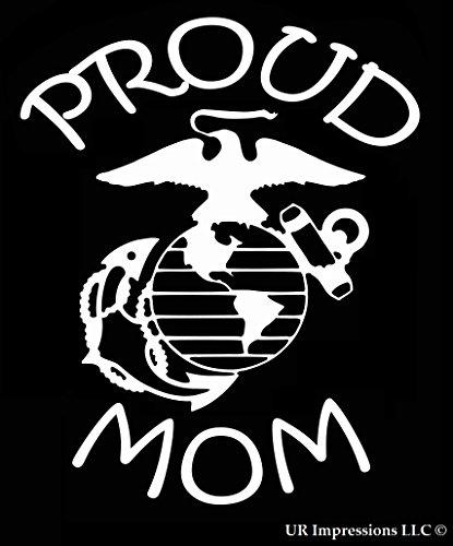 (UR Impressions Proud Marine Mom Decal Vinyl Sticker Graphics for Car Truck SUV Van Wall Window Laptop White 7 X 5.5 Inch URI424)