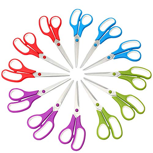 CCR Scissors 8 Inch Soft Comfort-Grip Handles Sharp Blades, 12-Pack by CCR