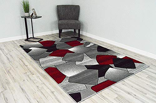 PlanetRugs Inc Gloria 3D Effect Hand Carved Thick Modern Contemporary Abstract 5x8 5x7 Area Rug Design 6003 Red