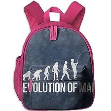 Evolution Man Fishing Printed Kids School Backpack Cool Children Bookbag Pink