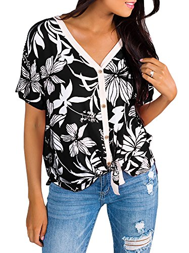 Women's Tropical Button Up Front Tie Shirt Summer Hawaiian V Neck Short Sleeve Tops Black]()