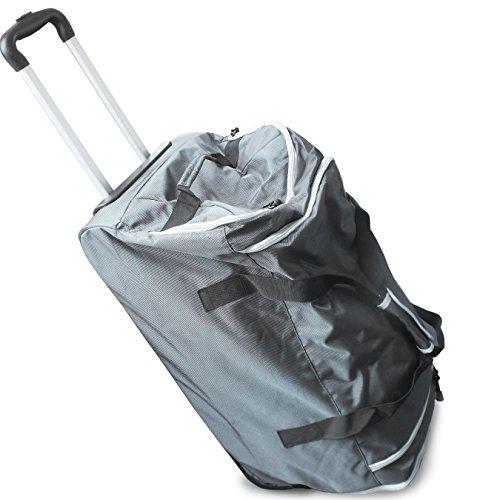 Donnay Reisetasche mit zwei Rollen 80 Liter | Hochwertige und leichtgängige Rollen & stabiler Aluminium Teleskopgriff - als Duffle Bag, Sporttasche, Reisekoffer, Trolley, Seitentaschen mit Wetpocket.
