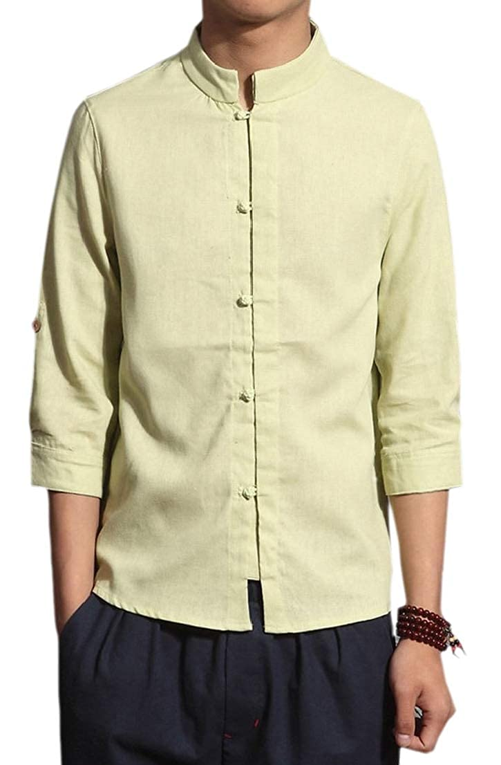 Alion Mens Frog Button Mandarin Collar Cotton Linen 3//4-Sleeved Slim Summer Tops