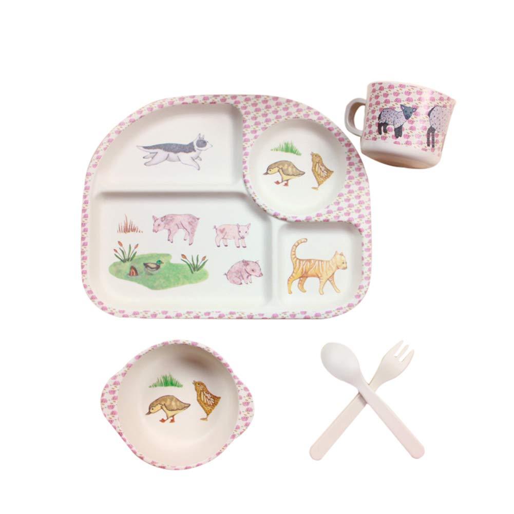 ZT Set vajilla Infantil de bamb/ú sin BPA Ecol/ógico y Biodegradable. 5 Piezas Servicio de Mesa cuberter/ía para ni/ños Vaso de Beber Plato para ni/ños Panda