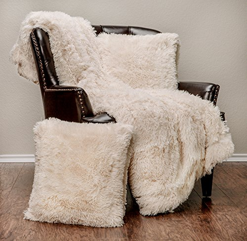 er Soft Shaggy Throw Blanket Pillow Cover Set - Chic Fuzzy Faux Fur Elegant Cozy Fleece Sherpa Throw (50