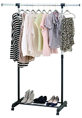 Mobile Adjustable Shelf Storage (Finnhomy Single Rail Adjustable Height Width Garment Rack with Casters Wheels Storage Shelf Foldable Freestanding Simple Mobile Portable Rolling Hanging Rack for Indoor Outdoor Bedroom Black & Chrome)