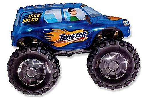 """Custom, Fun & Cool {XL Huge Giant Size 33"""" Inches - 2.75 Feet} 1 Unit of Helium & Air Inflatable Mylar Aluminum Foil Balloons w/ Monster Truck w/ Flames Design [in Bright Blue, Orange, Black & - Cool Blue Truck"""