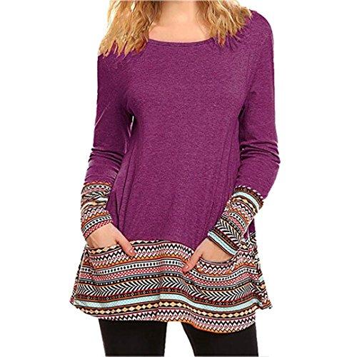 T a top pizzo camicie vestiti maniche sciolto tasca camicetta manica moda patchwork stampa Donna Rosso Shirt casual Yesmile Donne strisce lunga wapqUwtx