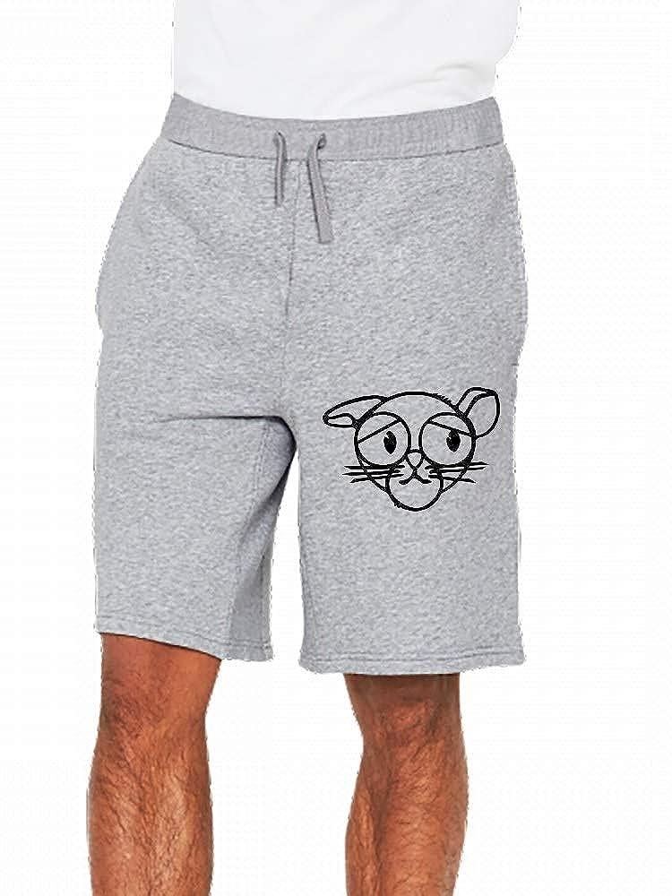 Cool Sad Cat Head 1 Color Mens Casual Shorts Pants