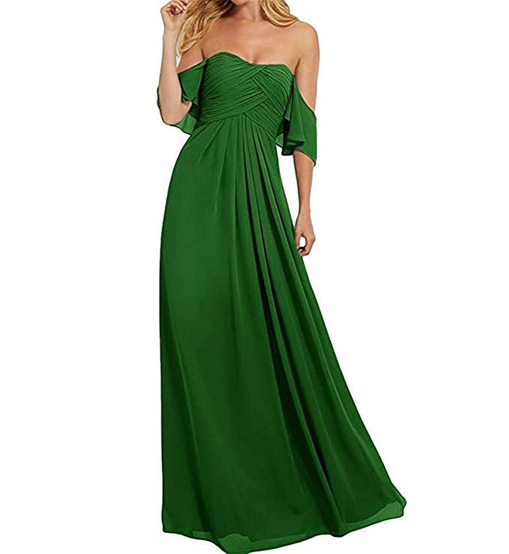 Green Ruiyuhong Women's Off The Shoulder Bridesmaid Dresses Long Ruffles Wedding Party Gown