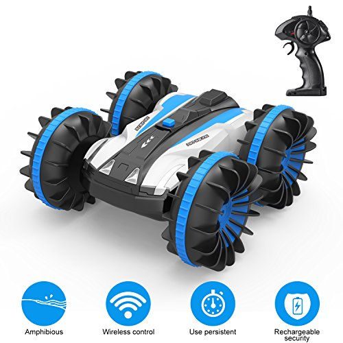 Tobeape RC Car, Wireless Remote Control Land & Water 2 in 1 RC Toy Car, 1/16 Scale High Speed RC Truck, 4 Wheel Drive Jeep, Rotate 360 Double Sided Race, Birthday Gift for Kids and Adults from Tobeape
