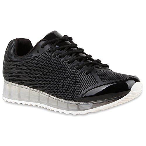 Damen Glamour Sportschuhe Runners Metallic Lack Sneakers Laufschuhe Flandell Schwarz Lack