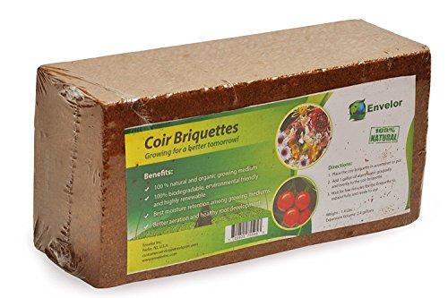 - Envelor Home and Garden Organic Coco Coir Growing Medium Coconut Fiber Potting, Coco Fiber Mulch, Coco Briquette (1.5 lb Coir Briquette- 2 Pack)