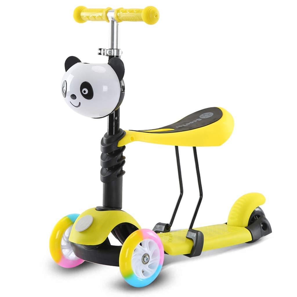 CMXIA Motorino della Ruota Flash Mute Altezza Regolabile per Ragazzi e Ragazze 1-6 Anni può sedersi Scooter a 3 Ruote ( Colore   giallo , Dimensione   3 cm Wheel )