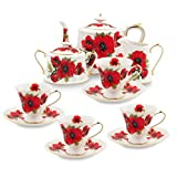 Grace Teaware 11-Piece Porcelain Tea Set (Red Poppy)