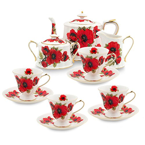 Grace Porcelain (Grace Teaware 11-Piece Porcelain Tea Set (Red Poppy))