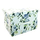 RayLineDo 26L Simulated Lining Durable Fabric Foldable Storage Box Bag Clothes Blanket Closet Sweater Organizer Canvas with Flowers in Blue