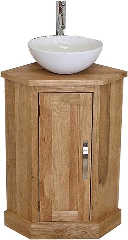 Corner Oak Bathroom Vanity Cabinet With Ceramic Bowl Set 501cb025 Amazon Co Uk Kitchen Home