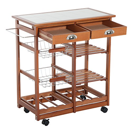HomCom 29-Inch Portable Rolling Tile Top Kitchen Trolley Cart with 6-Bottle Wine Rack
