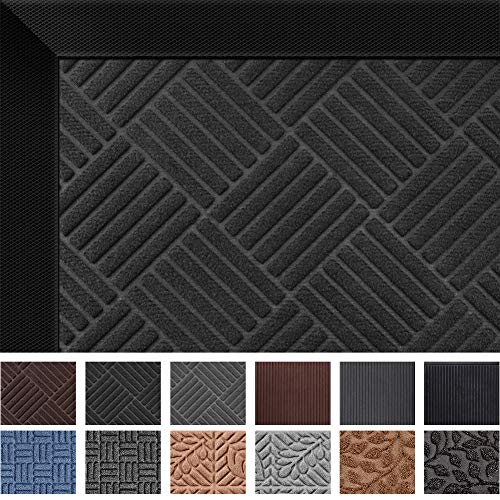 Mibao Durable Rubber Door Mat, Waterproof Non-Slip Easy Clean Low-Profile Heavy Duty Mats for Entry, Patio, High Traffic Areas (24x36, Black Diamond)