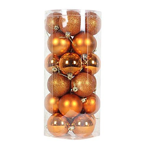 remeehi 24pcs Barrelled bolas de navidad adornos árbol de Navidad decoraciones de color, Cobre