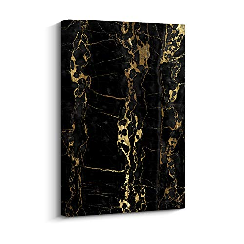 Pi Art Marble Pattern Canvas Print Abstract Wall Art Black and Gold Modern Wall Decor