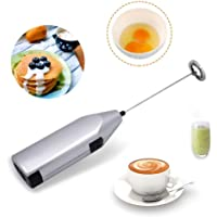 TECHVIDA Handheld Milk Frother, Mini Electric Whisk Coffee Blender, Stainless Steel Mixer, Suitable for Milk Foam, Coffee Stirrer, Stirring Eggs