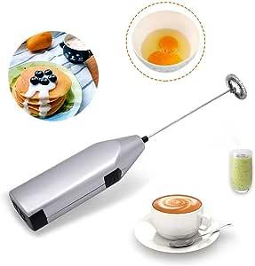 TECHVIDA Handheld Milk Frother, Mini Electric Whisk Coffee Blender, Stainless Steel Mixer, Suitable for Milk Foam, Coffee Stirrer, Stirring Eggs