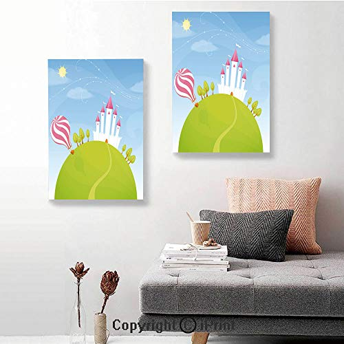 SfeatruRWF Canvas murals,Fantasy Castle on Top of The Hills and Hot Air Balloon in Sunny Sky Day Kids Art,24