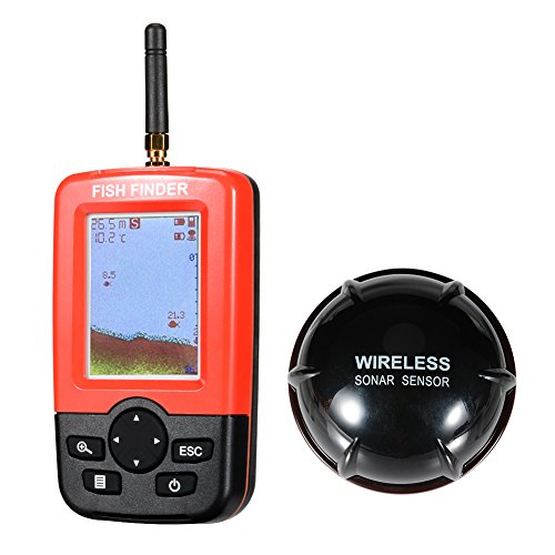 Isafish Smart Portable Deeper Fish Finder with 100m Wireless & Rechargeable Sonar Sensor Fishfinder Dot Matrix 45m Range Colorized LCD Display