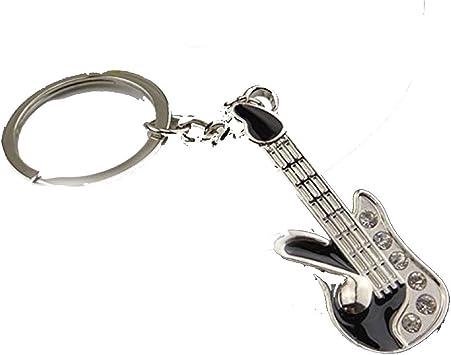 Happy Star® - Llavero de Metal Plateado con diseño de Guitarra ...
