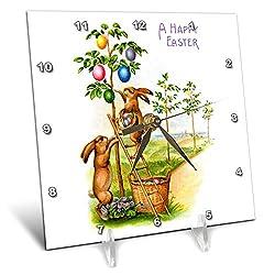 3dRose VintageChest - Easter - Two Rabbits Decorating a Tree - 6x6 Desk Clock (dc_302605_1)