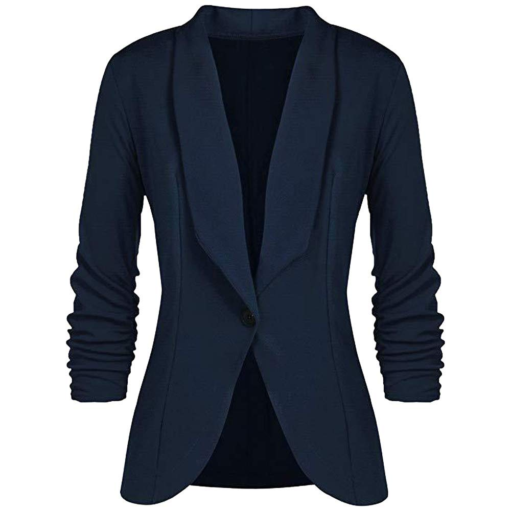 ZIYOU Damen 3/4 Ärmel Blazer Einfarbig, Slim fit Tailliert Kurz Jacke Damen Frauen Langarm Strickjacke Business Büro Oberteil Jacke