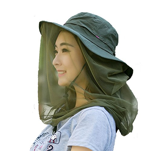 Enkrio Outdoor Sun Hat Flap Hats UPF 50+ 360 Degree Solar Protection Sun Cap with Neck Face Mesh Mask Caps Anti-Mosquito Hat Wide Brim for Women (Olive drab) (Ladies Olive Drab)