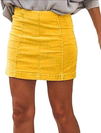 ShuangRun Mini Falda de Pana de Cintura Alta Sexy con Cierre ...